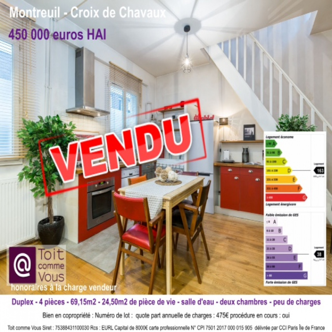 Offres de vente Appartement Montreuil (93100)